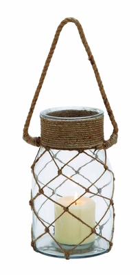 Smart Styled Opaque Glass Rope Candle Lantern - 28856 by Benzara