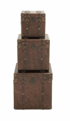 Smart Styled Wood Leather Case Set Of 3 - 56822 by Benzara