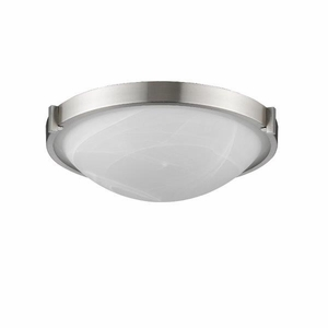 """SMITH Transitional 3 Light Bushed Nickel Flushmount Ceiling Fixture 17"""" Wide"""