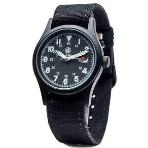 SWW-1464-BLK Military Watch with Three Interchangable Canvas Straps