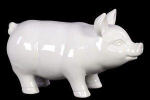 Smooth & Shiny Cheerful Ceramic Pig in White Large