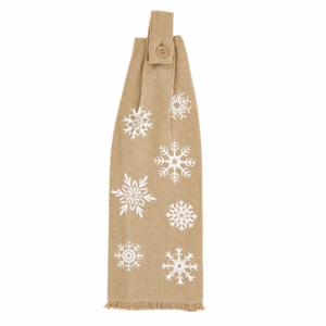Snowflake Burlap Button Loop Kitchen Towel Set of 2 - 26622 by VHC Brands