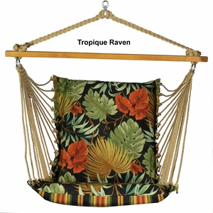 Soft Comfort Cushion Hanging Chair in Tropique Raven or Lyndhurst Raven by Algoma