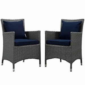 Sojourn 2 Piece Outdoor Patio Sunbrella Dining Set, Canvas Navy