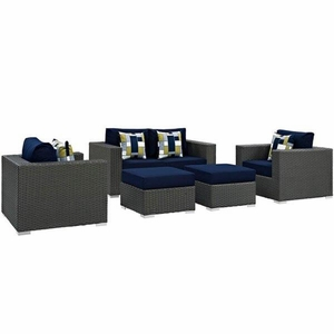 Sojourn 5 Piece Outdoor Patio Sunbrella Sectional Set, Canvas Navy