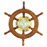 Wood Brass Shipolystonewheel Clock A Perfect Nautical Wall Decor - 14294 by Benzara