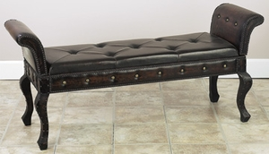 Wood Leather Bench Designed For Limited Spaces As Portable Furniture -