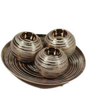 Sophisticated 3 Piece Candle Holder with Plate