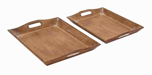 Set Of 2 Wood Tray With Rich Brown Finish - 14422 by Benzara