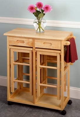 Space Saver Drop Leaf Table with Two Square Stools by Winsome Woods
