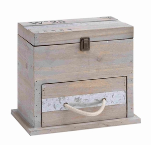 Useful and Spacious Square Shaped Wooden Box with Drawer - 92368 by Benzara