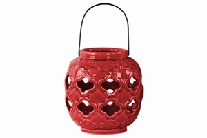 Spherical Lantern with Quatrefoil Design and Metal Handle-Red- Benzara