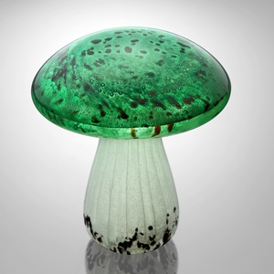 Spotted Green Mushroom with White Stalk Glow in the Dark Art Glass Home Decor by SPI-HOME