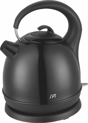 SPT-SK-1715B 1.7L Stainless Cordless Kettle with Black Coating by Sunpentown