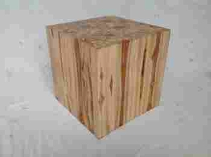 Square Shaped Wooden Klaten Stool With Contemporary Motif - 38425 by Benzara