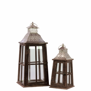 Square Lantern with Silver Pierced Metal Top Set of Two - Brown - Benzara