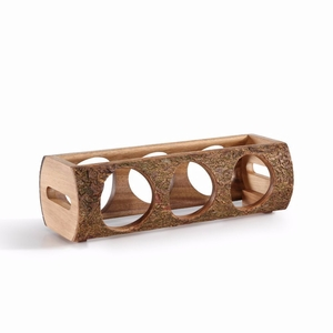 DanyaB Stackable Three Bottle Wine Holder Log - Acacia Wood with Bark