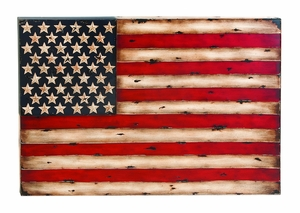 Metal Flag Wall Decor With American Flag Replica by Benzara