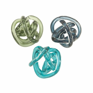 Startling Glass Knots 3 Assorted - 61879 by Benzara