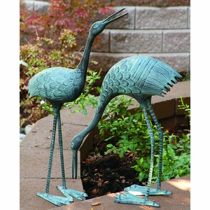 Stately Garden Cranes in Beautiful Sky Blue Garden Decor Set of Two by SPI-HOME