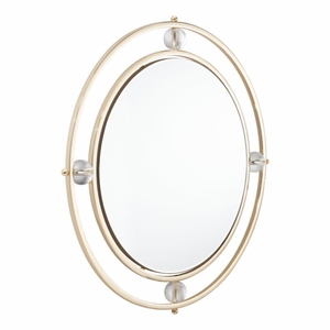 Steel And MDF Floatin G Round Lucite Mirror, In Golden And Lucite