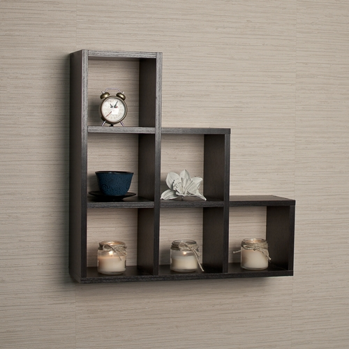 Decorative Wall Shelves Images : Buy stepped six cubby decorative black wall shelf by danya b