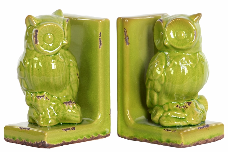 Buy Stoneware Owl Bookend Assortment Yellow Green At