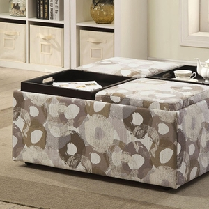 Liana Transitional Storage Ottoman With pattern, Multi Color