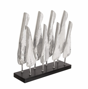 Striking Aluminum Wood Table Sculpture - 37026 by Benzara