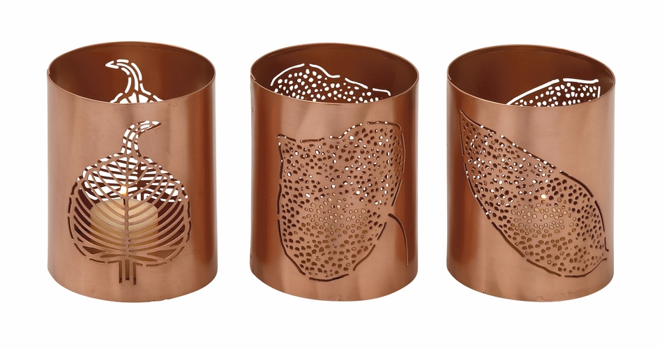 Buy Striking Metal Leaf Votive Holder Set Of 3 4 W 5 H At