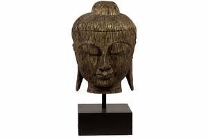 Striking Resin Buddha Bust With Wood Texture