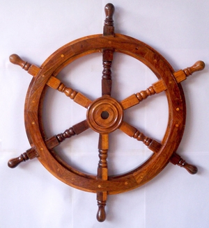 Striking Ship Wheel with Wooden Centre