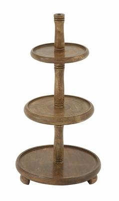 Striking Wood 3 Tier Tray - 14482 by Benzara