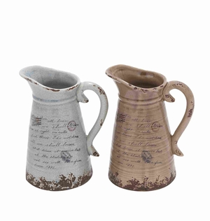 Ceramic Pitcher with Strong Built & Intricate Aesthetic Detailing - 78661 by Benzara
