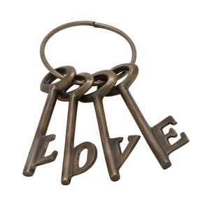 Stunning Aluminum Bronze Love Key Set Of 4 - 37051 by Benzara