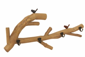 Stunning Nature And Lovely Bird Themed Wood Wall Hook - 54341 by Benzara