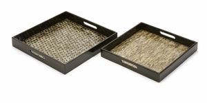 Stunning Set of 2 Jacobs Mother of Pearl Serving Trays by IMAX