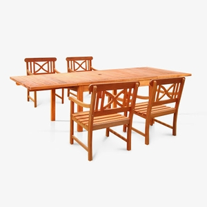Sturdy and Large Dining Set With rectangular table and armchairs by Vifah