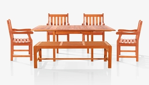 Sturdy and Large Dining Set with rectangular table, backless bench and Arm Chairs