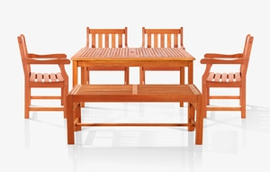 Sturdy and Large Dining Set with rectangular table, backless bench and Arm Chairs 16