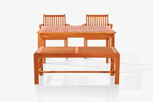 Sturdy and Large Dining Set with rectangular table, backless bench and Arm Chairs 19