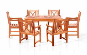 Sturdy and Large Dining Set with square table, and Arm Chairs 13