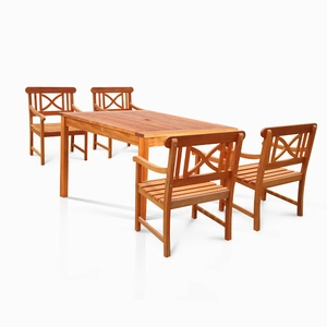 Sturdy and Large Dining Set with square table, and Arm Chairs 9
