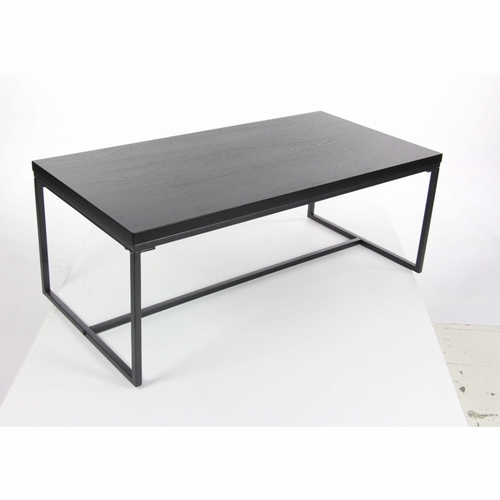 Buy sturdy gray metal wood coffee table at for Gray wood and metal coffee table