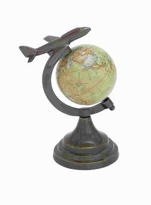 Bronze Globe With Metal Aircraft On Top - 28348 by Benzara