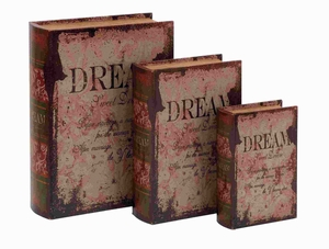 Leather Book Box With Vintage Design - Set Of 3 - 59378 by Benzara