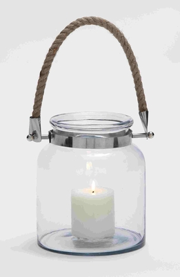Stylish And Exquisite Glass Metal Lantern With A Sturdy Rope Handle - 28864 by Benzara