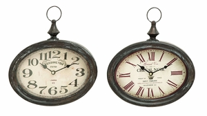 Stylish And Durable Assorted Chinese Metal Wall Clock - Set Of 2 - 52519 by Benzara