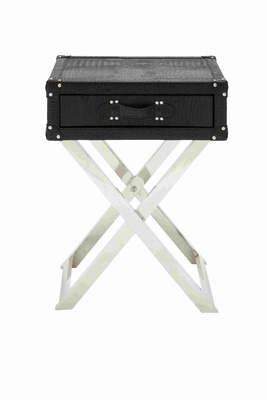 Single drawer leather folding table - 70666 by Benzara