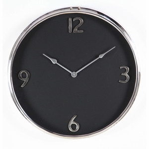 Stylish Black And Silver Stainless Steel Wall Clock - 43521 by Benzara
